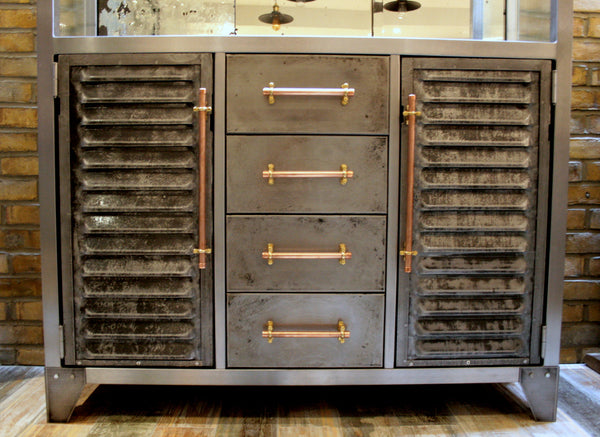Polished Metal and Antique Mercury Glass Bar Cabinet with Copper Pipe Handles - TheRetroStation  - 5