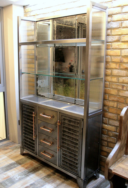 Polished Metal and Antique Mercury Glass Bar Cabinet with Copper Pipe Handles - TheRetroStation  - 2