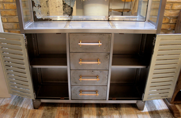 Polished Metal and Antique Mercury Glass Bar Cabinet with Copper Pipe Handles - TheRetroStation  - 6