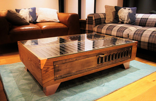 Vintage Industrial Oak Coffee Table with Copper feet - TheRetroStation  - 2