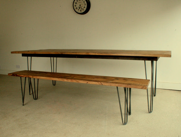 Reclaimed Oak Dining Table with Eames Style Hairpin Legs - TheRetroStation  - 2