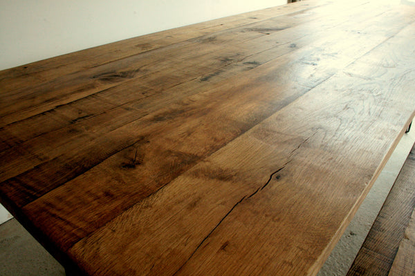 Reclaimed Oak Dining Table with Eames Style Hairpin Legs - TheRetroStation  - 3