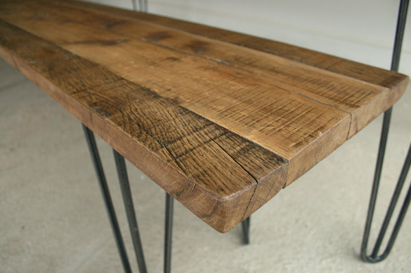 Reclaimed Oak Dining Table with Eames Style Hairpin Legs - TheRetroStation  - 5