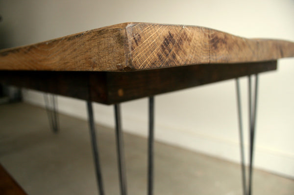 Reclaimed Oak Dining Table with Eames Style Hairpin Legs - TheRetroStation  - 6