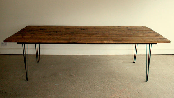 Reclaimed Oak Dining Table with Eames Style Hairpin Legs - TheRetroStation  - 7