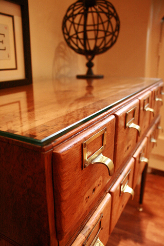 Vintage Oak Libary Drawers - TheRetroStation  - 1