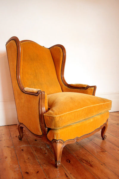 1940's Wingback Armchair in Mustard Velvet - TheRetroStation  - 1