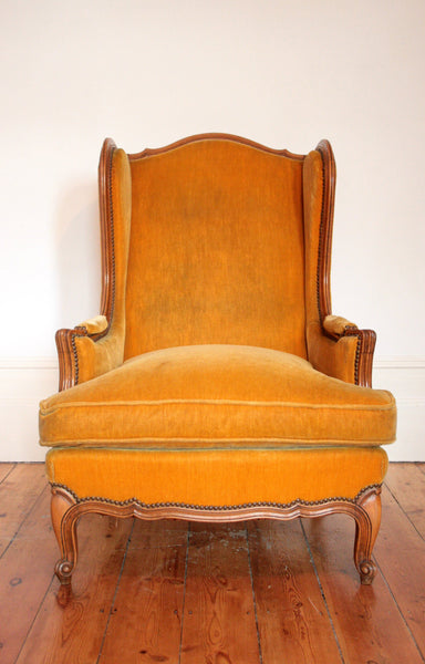 1940's Wingback Armchair in Mustard Velvet - TheRetroStation  - 4