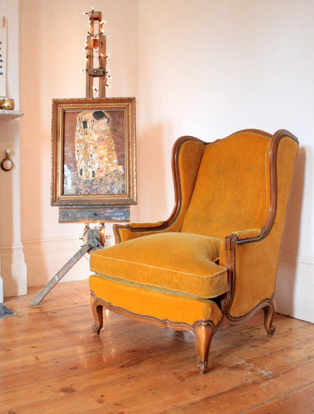 1940's Wingback Armchair in Mustard Velvet - TheRetroStation  - 2