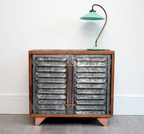Hand Crafted Vintage Industrial Sideboard with Polished Metal Vinatge Doors and Parquet Top - TheRetroStation  - 1