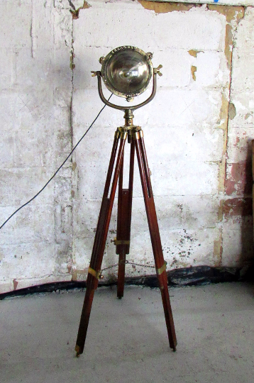 1920's Seahorse copper and brass searchlight converted into a tripod lamp - TheRetroStation  - 3