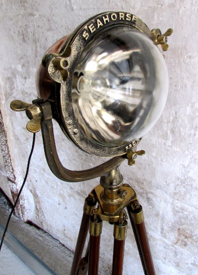 1920's Seahorse copper and brass searchlight converted into a tripod lamp - TheRetroStation  - 4