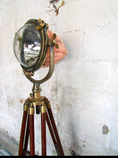 1920's Seahorse copper and brass searchlight converted into a tripod lamp - TheRetroStation  - 1