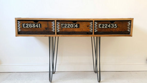 "Vintage Industrial ""Slim Jim"" sideboard with reclaimed wood and steel hairpin legs - TheRetroStation  - 1"