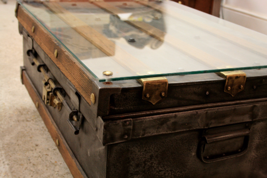 Polished Steel and Oak Steamer Trunk Coffee Table Circa 1900's - TheRetroStation  - 3