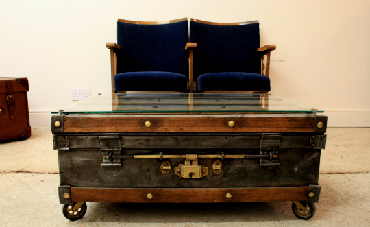 Polished Steel and Oak Steamer Trunk Coffee Table Circa 1900's - TheRetroStation  - 1
