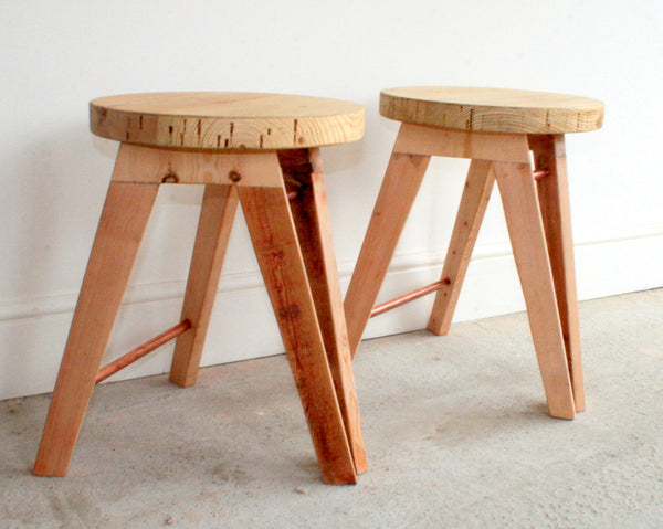 The Caboose Stool - Hand crafted tripod design with reclaimed wood and copper pipe detailing - TheRetroStation  - 5