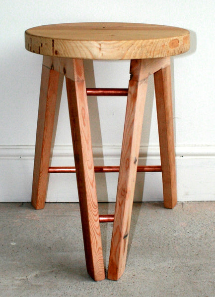 The Caboose Stool - Hand crafted tripod design with reclaimed wood and copper pipe detailing - TheRetroStation  - 3