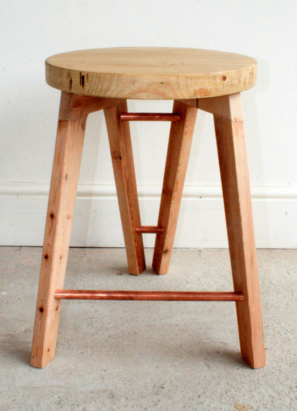 The Caboose Stool - Hand crafted tripod design with reclaimed wood and copper pipe detailing - TheRetroStation  - 8