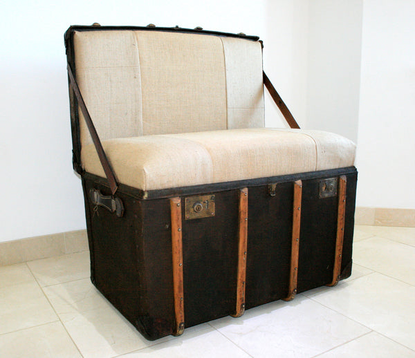 "The ""Trunkie chair"" an Upcycled Steamer Trunk alternative, hand crafted seating with bespoke designs - TheRetroStation  - 1"