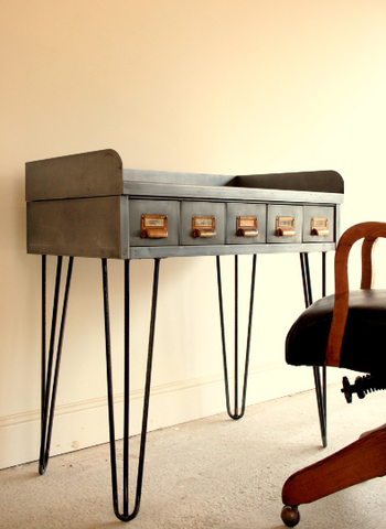 Vintage Industrial Writing Desk - TheRetroStation  - 1