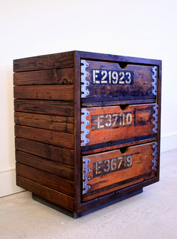 Beautifully aged vintage industrial 3 drawer cabinet built using reclaimed materials - TheRetroStation  - 1