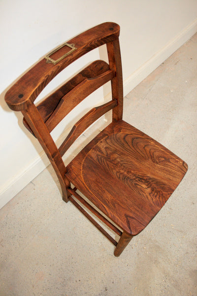 Antique elm church chairs circa 1800 - TheRetroStation  - 2