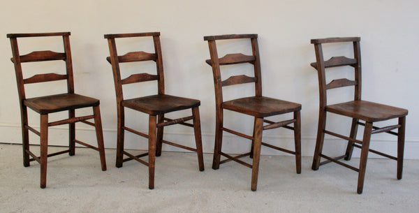 Antique elm church chairs circa 1800 - TheRetroStation  - 5