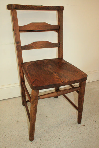 Antique elm church chairs circa 1800 - TheRetroStation  - 3