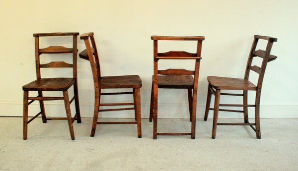 Antique elm church chairs circa 1800 - TheRetroStation  - 4
