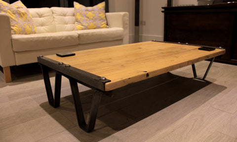 Vintage Industrial hand crafted Coffee Tables; made with reclaimed wood & polished steel - TheRetroStation  - 1