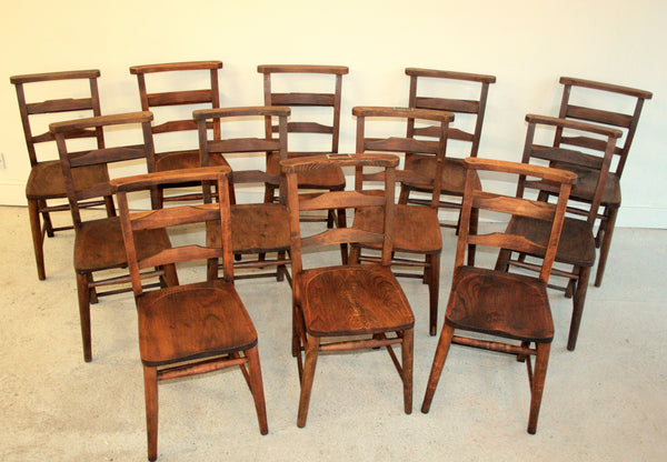 Antique elm church chairs circa 1800 - TheRetroStation  - 6