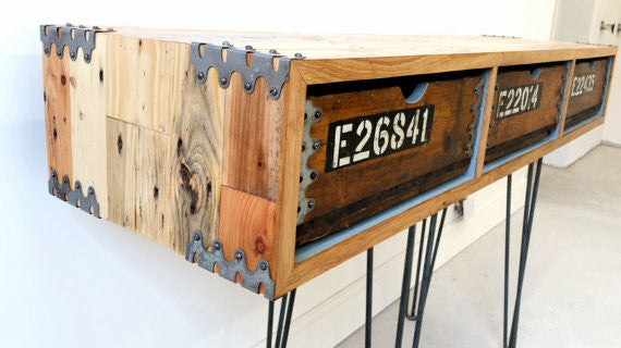"Vintage Industrial ""Slim Jim"" sideboard with reclaimed wood and steel hairpin legs - TheRetroStation  - 2"