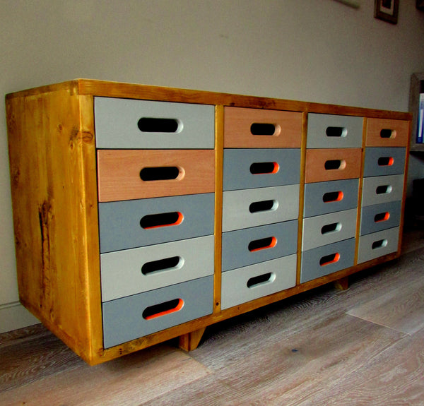 Beautifully hand crafted 20 drawer, Beech sideboard; gorgeous storage solution - TheRetroStation  - 2