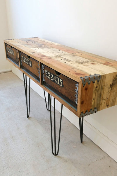 "Vintage Industrial ""Slim Jim"" sideboard with reclaimed wood and steel hairpin legs - TheRetroStation  - 4"