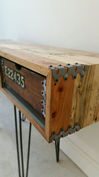 "Vintage Industrial ""Slim Jim"" sideboard with reclaimed wood and steel hairpin legs - TheRetroStation  - 3"