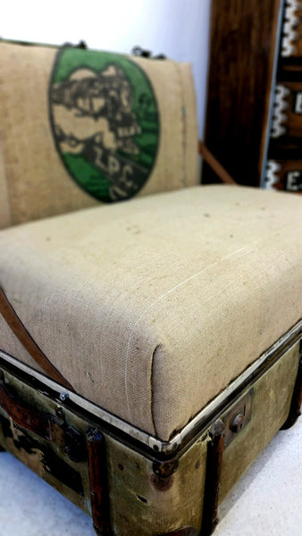 "The ""Trunkie chair"" an Upcycled Steamer Trunk alternative, hand crafted seating with bespoke designs - TheRetroStation  - 5"