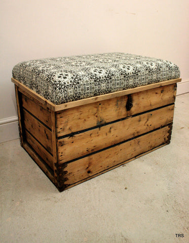 Antique Pine storage Chest Chair with Scandinavian upholstery - TheRetroStation  - 1