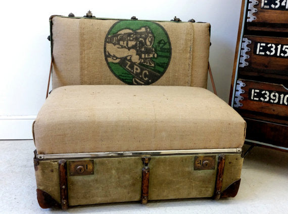 "The ""Trunkie chair"" an Upcycled Steamer Trunk alternative, hand crafted seating with bespoke designs - TheRetroStation  - 4"