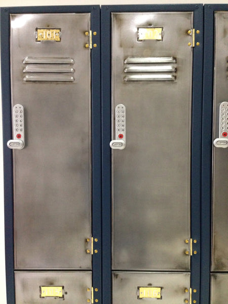 Two tier vintage industrial style Lockers with polished metal doors and fun colours
