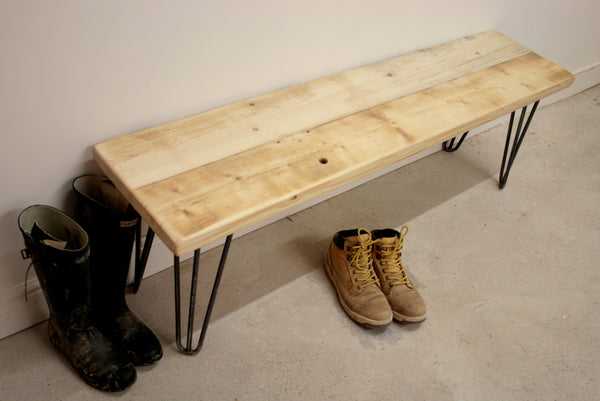 Hand Crafted Hairpin Leg Bench built to size using reclaimed wood - TheRetroStation  - 5