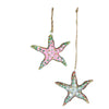 Glitter Starfish Ornaments Set of 2