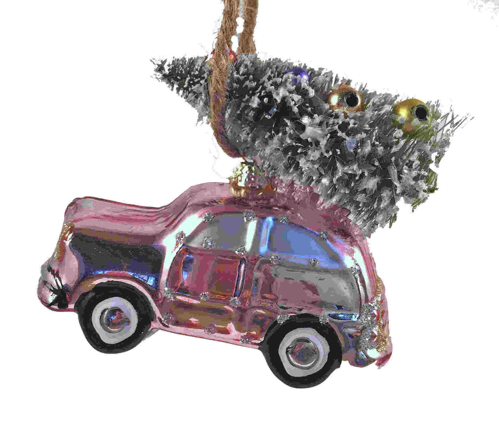 Retro Beach Car Tree Ornament Pink