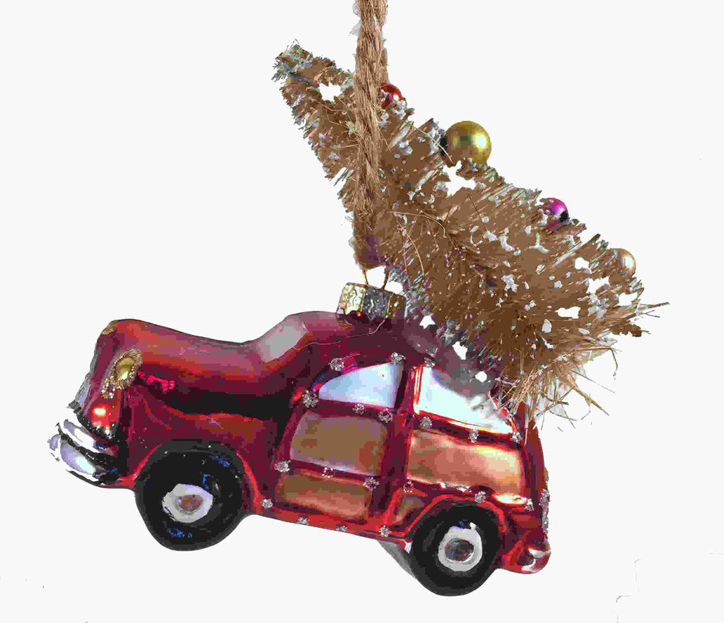 Retro Beach Car Tree Ornament Red