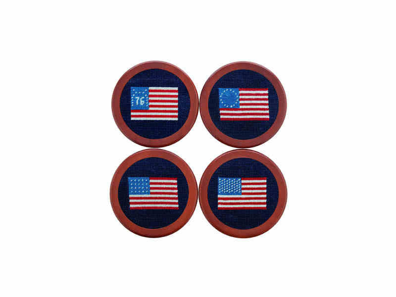 Smathers & Branson American Flag Needlepoint Coasters