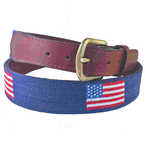 Smathers & Branson Flags of Our Fathers American Flag Needlepoint Belt