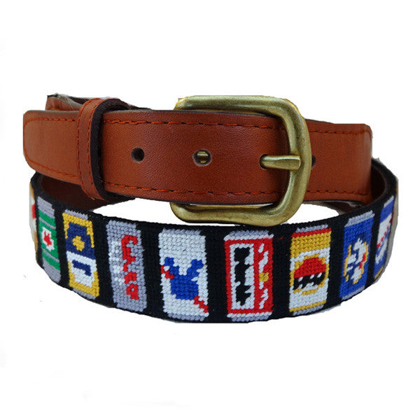 Smathers & Branson Beer Cans (Black) Needlepoint Belt