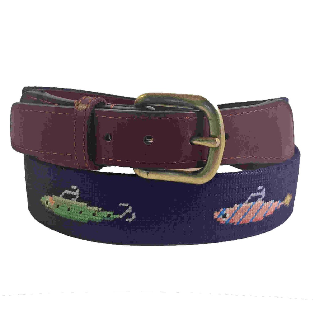 Smathers & Branson Bluefish and Stripers Needlepoint Belt
