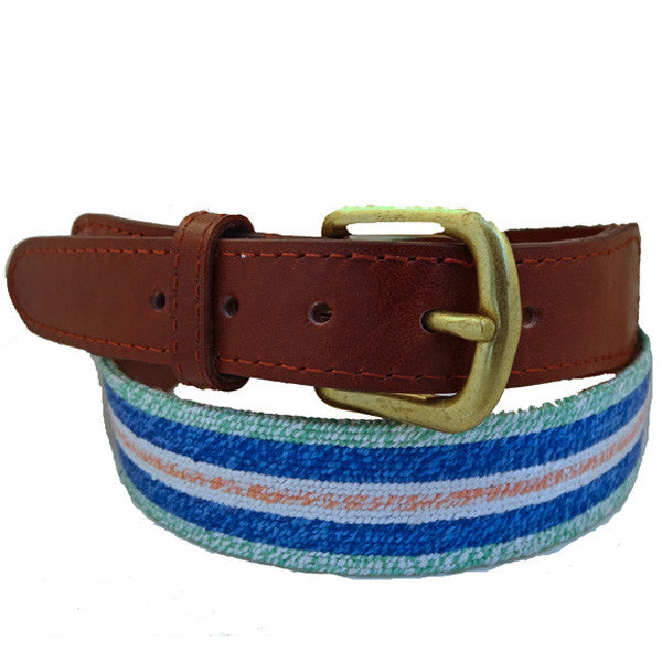 Smathers & Branson Surfer Stripe Needlepoint Belt
