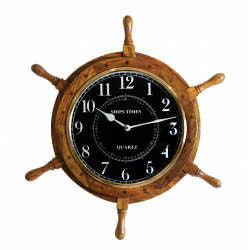 Ship Wheel Clock Wood